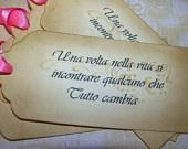 Luxurious Italian Wishing Tree - Once in a Lifetime - Una volta nella vita si - Wedding Tags - Set of 12 Choice of Ribbon Color. $16.00, via Etsy.