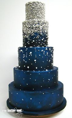 Grand blue wedding cake with silver dragees and sugar pearls by The Butter End Cakery