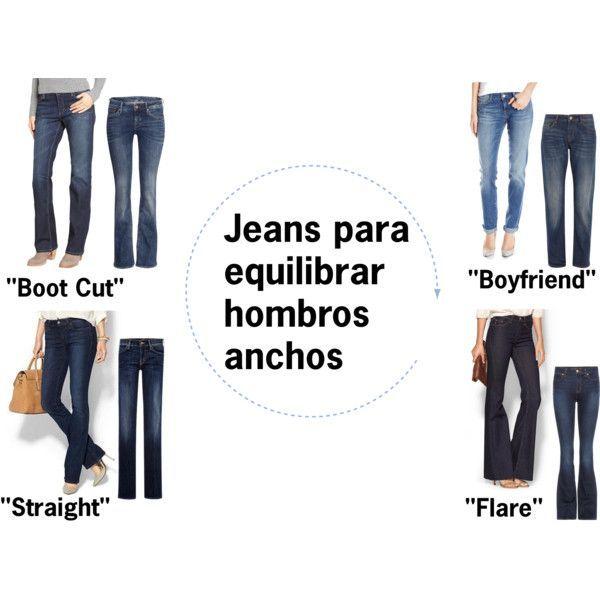 Corte de Jeans para tipo de cuerpo con hombros anchos