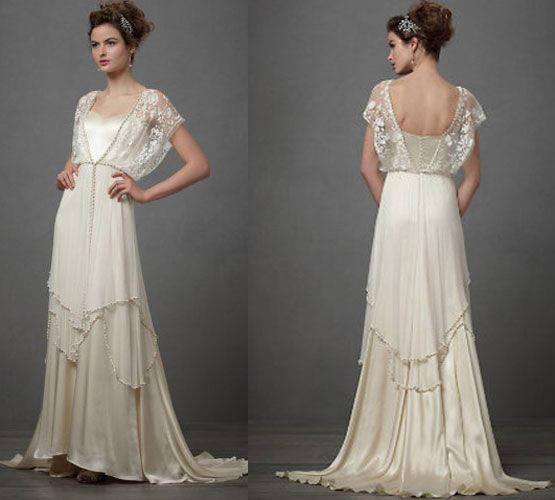 In the 1920s – women often went back to earlier eras like the Edwardian's for inspiration.  I found this beautiful Catherine Deane wedding dress which is very much in this vein amongst the beautiful gowns of BHLDN.