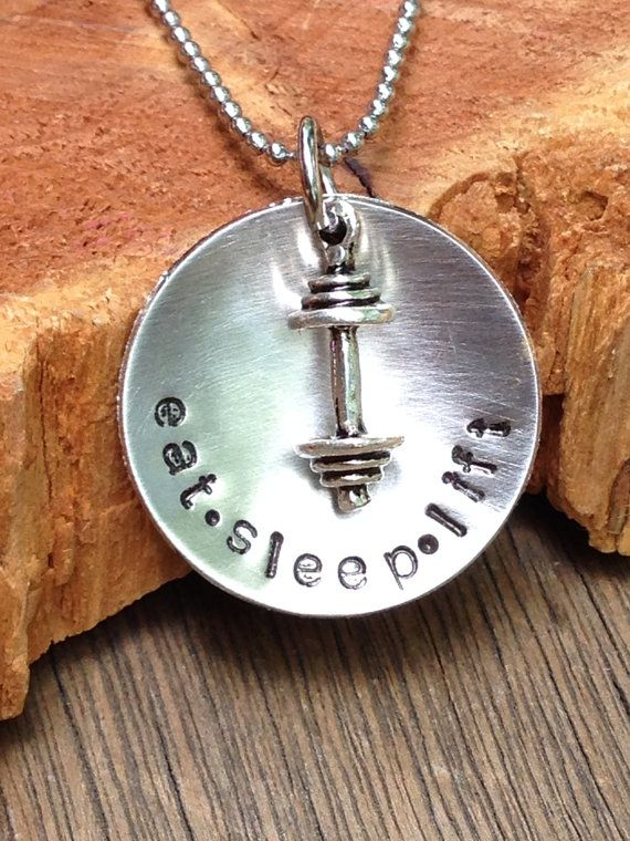 Eat sleep lift necklace barbell weights workout by Eternally29, $26.00