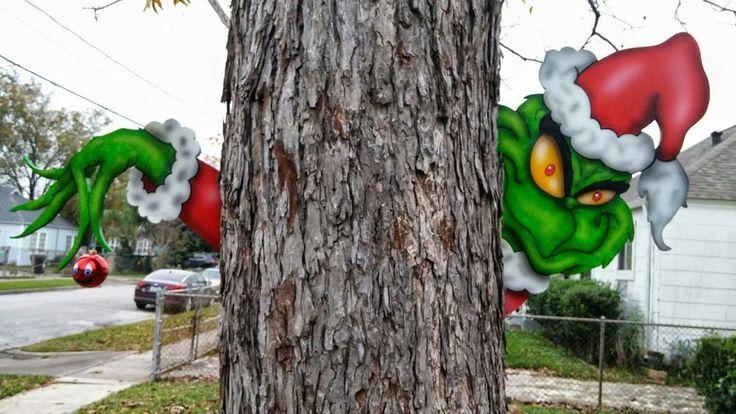 The Grinch Christmas Tree Lawn Yard Art Peekers in Yard Decor | eBay