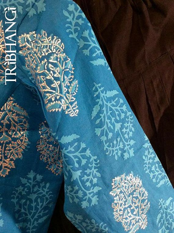 Midnight Blue and Black Jaipur block print gopi by Tribhangi