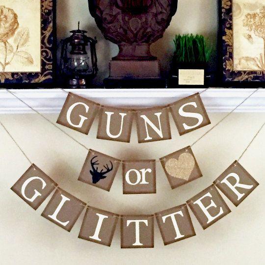 Guns or Glitter Gender Reveal banner, Baby Shower Decorations, Black and Glitter…