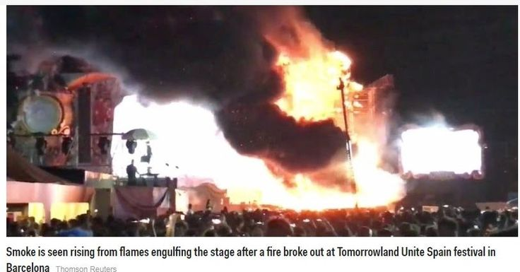 How 22,000 people had to be evacuated from a Barcelona music festival after a massive stage fire