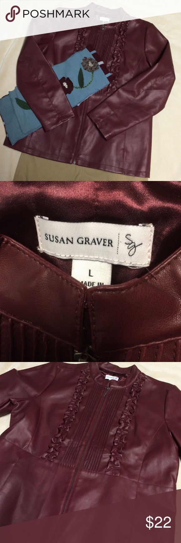 Susan Graver faux leather jacket Perfect condition!  Super cute, satin lining!  Wear to the office or around town! Susan Graver Jackets & Coats