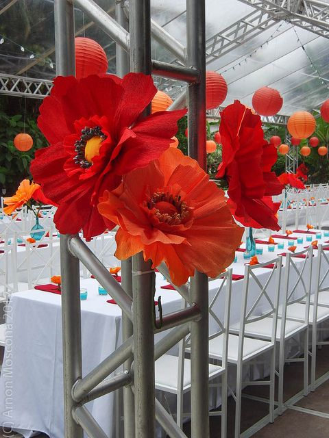 Paper poppies are easy to make and might be a great visual effect. savings on loads of fresh flowers..