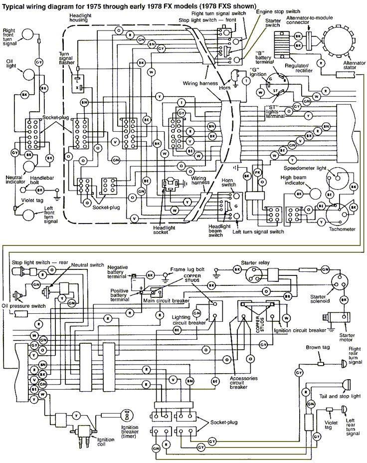 19751978harleydavidsonfxfxewiringdiagram | shovelhead | Pinterest | Harley davidson and Cars