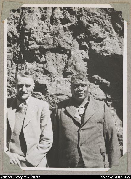Portrait of Rex Battarbee with Albert Namatjira, Northern Territory, ca. 1946