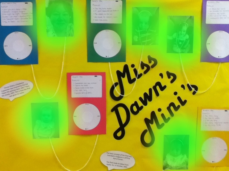 "Miss Dawn's Mini's… This is my iPod bulletin board. I blurred the pictures of the humans but… So i made headphones out of tissue paper ""fl…"