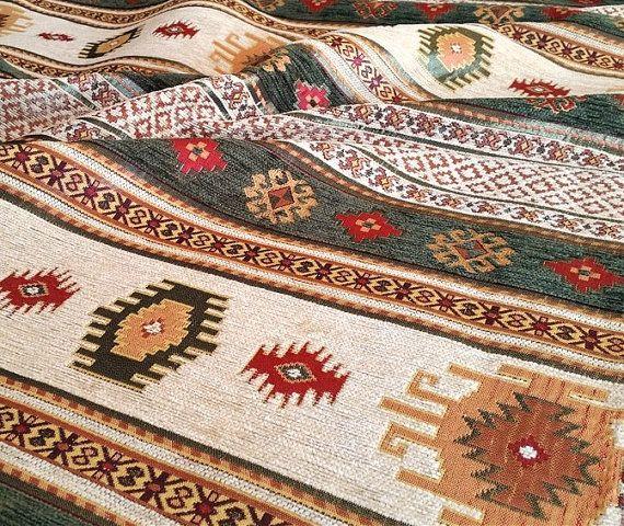 Etnische Tribal stijl Chenille bekleding stof door AnatoliaFabric