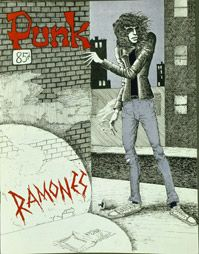 Joey Ramone on the cover of the April, 1976 issue of Punk Magazine - ilustration by John Holmstrom