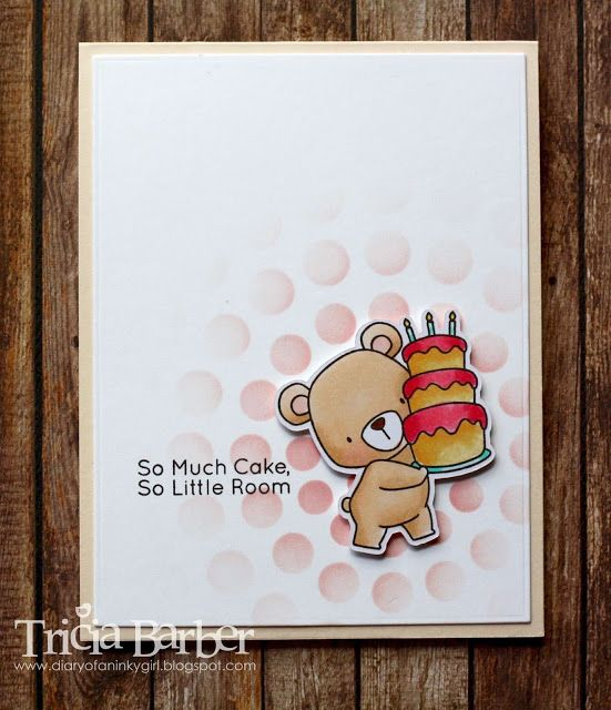 card with critters bear with cake MFT Beary Special Birthday Stamp Set Die-namics #mftstamps Diary of an Inky Girl…: Beary Special Birthday - 3 cards - stencil