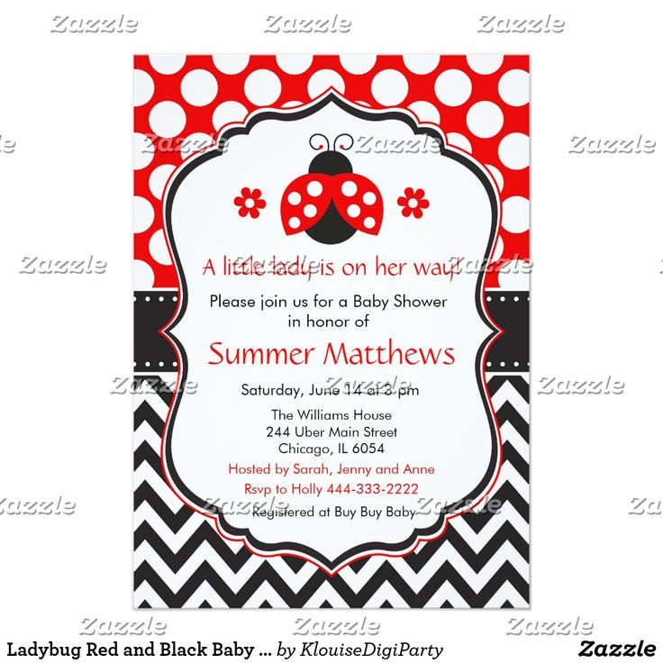 Ladybug Red and Black Baby Shower Card