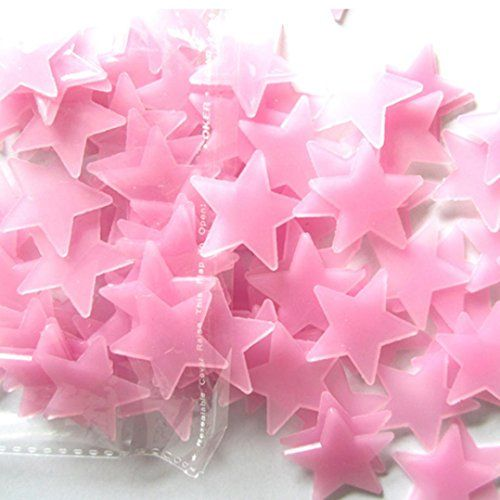 Pink fluorescent glow in the dark removable stars for little girls room. Pink chevron girls room. affiliate link.