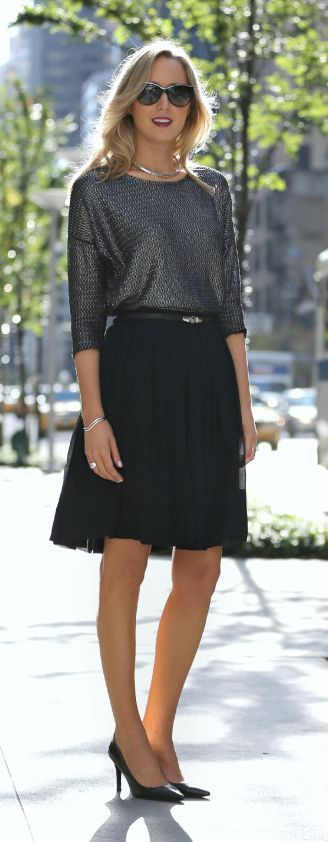 The Classy Cubicle: Coat Crush {fashion blog, young professional women, office style inspiration, corporate work wear, fall fashion trends, pim + larkin, vince camuto, theory, ralph lauren, escada, leather sleeves boucle coat, pleated chiffon skirt, metallic sweater top, silver choker jewelry}