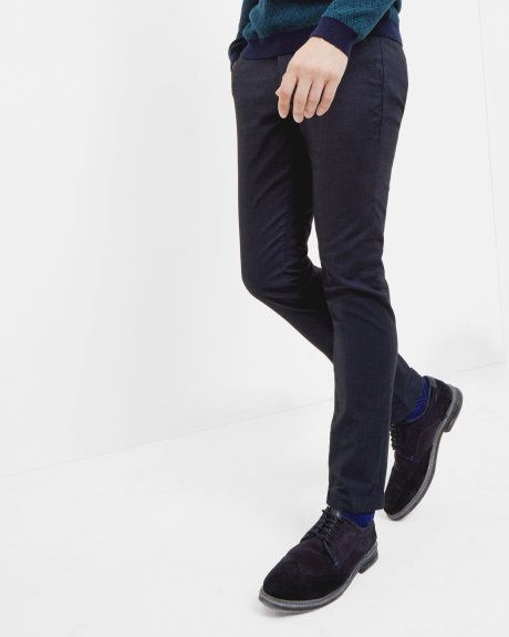 Slim fit mini design trousers - Navy   Trousers   Ted Baker UK