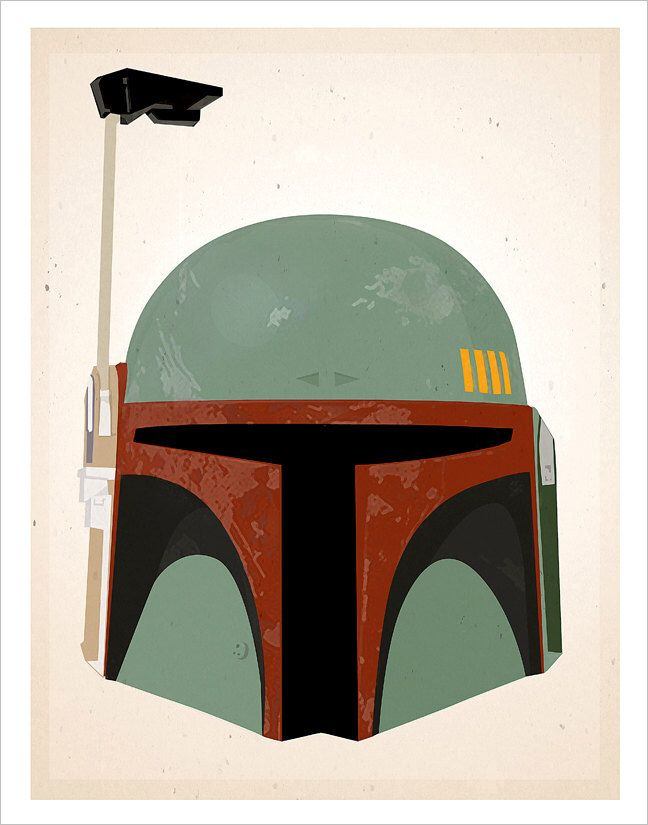 Star Wars Boba Fett Helmet print - 8x10, 11x14 or 16x20 print - Starwars poster Star Wars character print - Boba Fett art by aswegoArts on Etsy https://www.etsy.com/listing/70315366/star-wars-boba-fett-helmet-print-8x10