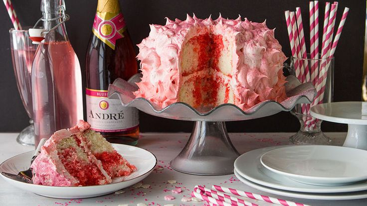 Pink Champagne Buttercream Cake..   This pink champagne poke cake is layered with rich, bubbly-spiked buttercream frosting. What's not to love about this pink, pearly, perfect layer cake?