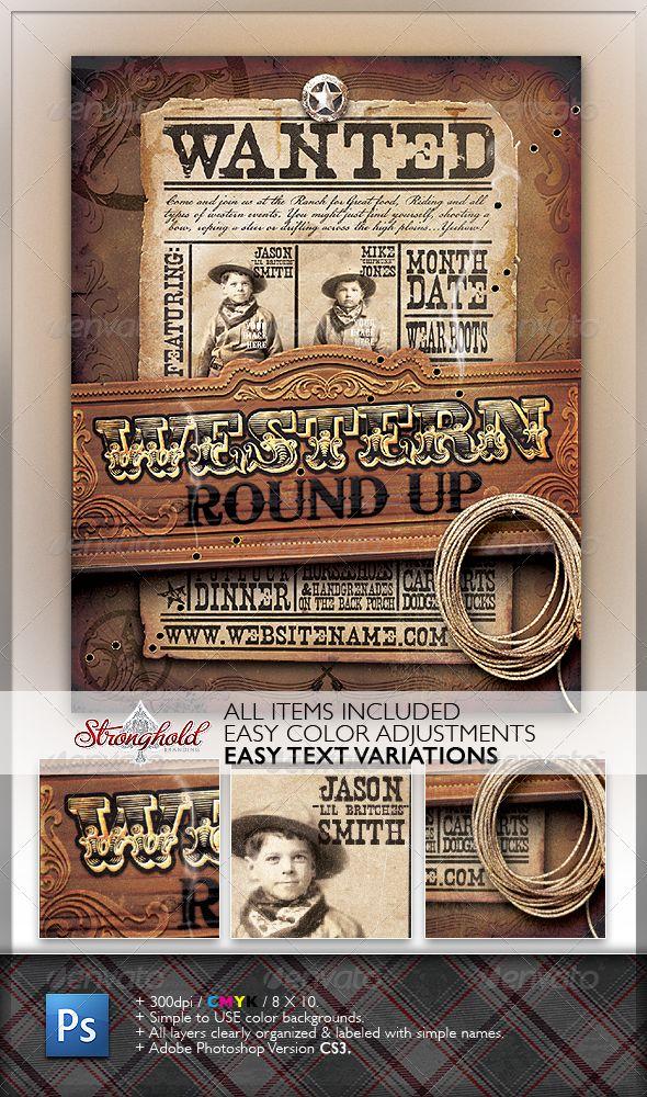 wild west event flyer  adobe photoshop adobe and grunge