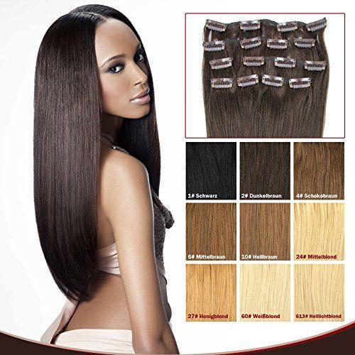 OUBO Clip in Extensions Echthaar 100% Remy Haarteile Echthaar für Haarverdichtung Haarverlängerung 7 Tressen 16 Clips Set dick hochwertiges Remy Echthaar 40/45/50/55cm -10# Hellbraun, 40cm | Your #1 Source for Beauty Products