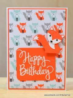 I used the Stampin' Up! A Little Foxy Designer Series Paper Stacck and the Build A Fox punch to create this very simple card. The sentiment is from a Stylised Birthday Stamp. www.janbcards.com