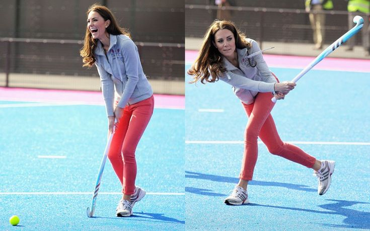 Playing hockey with the GB teams at the Olympic Park. Like the coral skinnies.