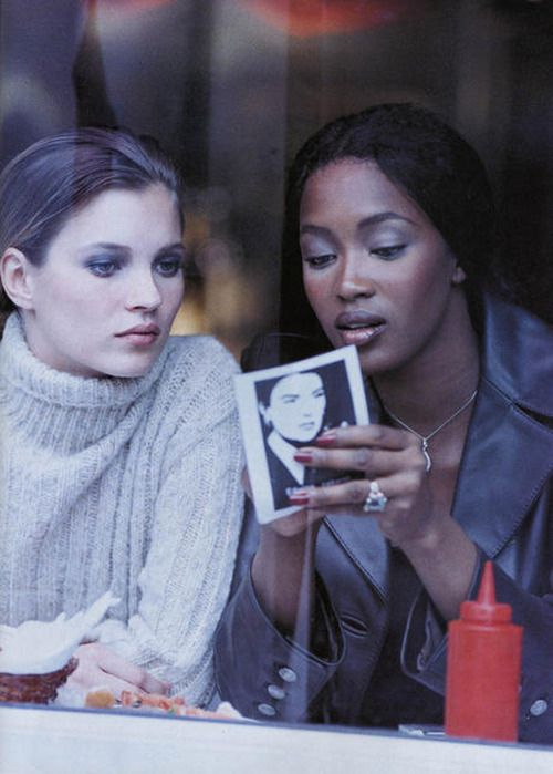 """A star is born"". Kate Moss & Naomi Campbell by Peter Lindbergh for Harper's Bazaar Dec. 1994"
