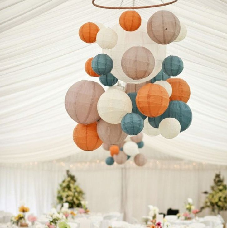 AUTUMN - Create a stunning centre piece in your wedding marquee this autumn using striking tones of blue and orange paper lanterns. Add some white and latte lanterns to create the base
