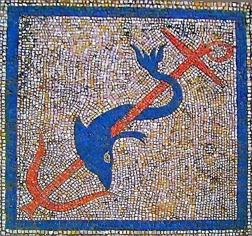 La maison des dauphins a Delos, Asclépiadès d'Arados (Syrie)-Le propriétaire est un phénicien qui a fait figurer le signe de Tanit dans la mosaïque du vestibule, il ne s'agit pas ici d'un symbole chrétien.