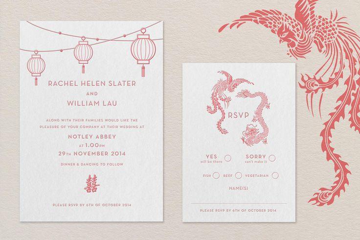 JOY- letterpress multicultural wedding invitation #chinese #english #wedding #invitation