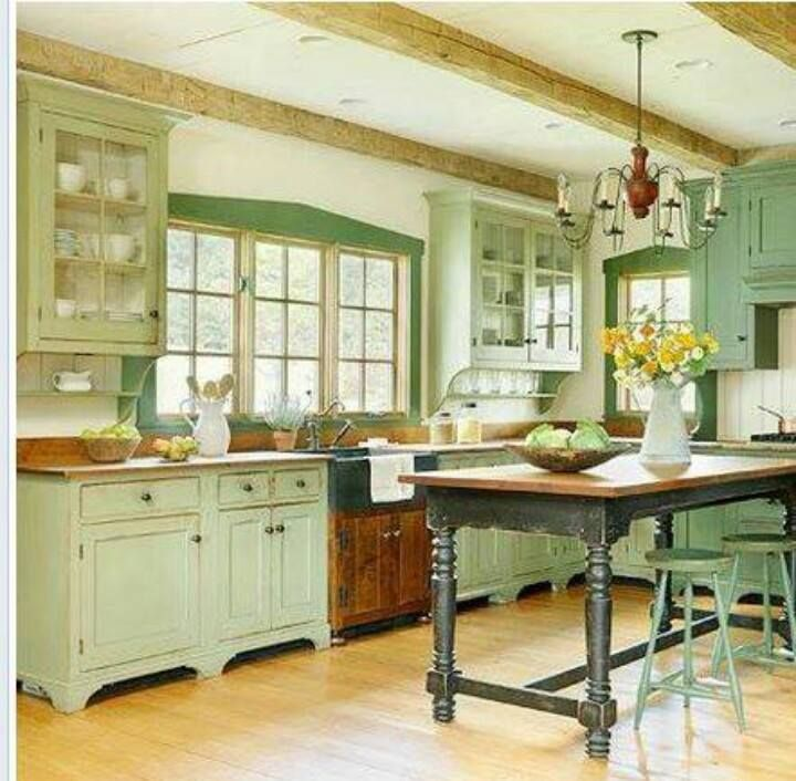 Guilford Green Kitchen Cabinets: Table Island With Height Added On The Bottom