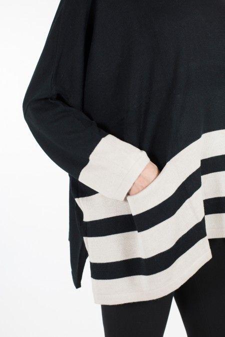 """Maxi maglia """"a scatola"""" con dettaglio rigato"""