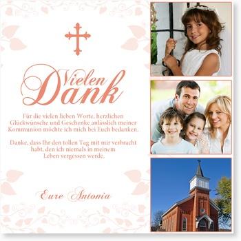 Kommunion Dankeskarte - Geschwungenes Kreuz in Rosé