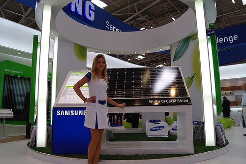 Solar cell efficiency data. http://how-to-make-a-solar-panel.us/solar-cell-efficiency.html Samsung showcases its solar cell modules at Intersolar 2010 in Munich