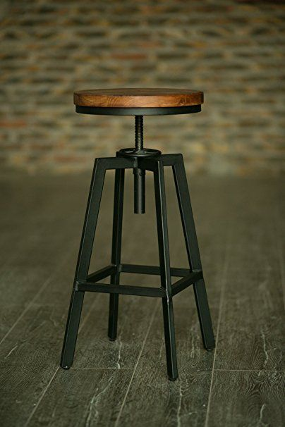 "Nyx Barstool 24""-28.7"" (61-73cm) Elm Timber / Steel - Modern Industrial"