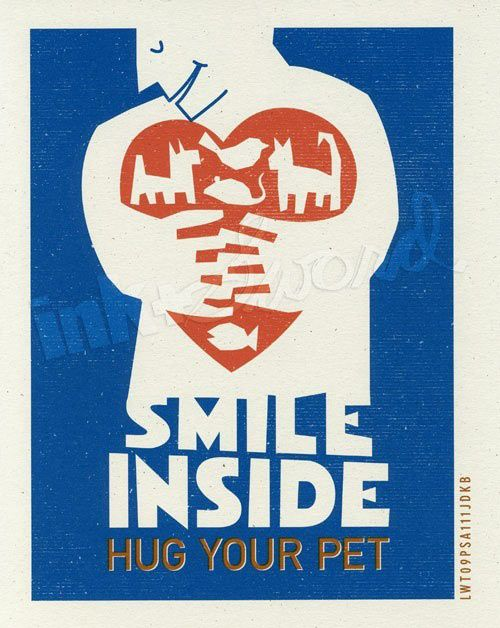 "Ink & Sword: Handmade Art Prints. Pet Care PSA Series. ""Smile Inside"""
