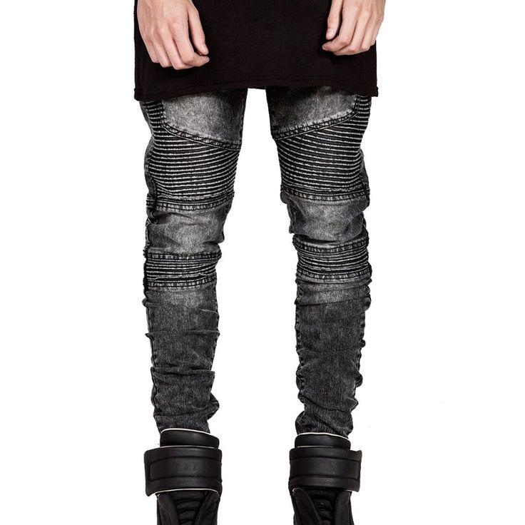 Barato Mens magro calça jeans motociclista homens 2016 hi rua moto rider jeans…