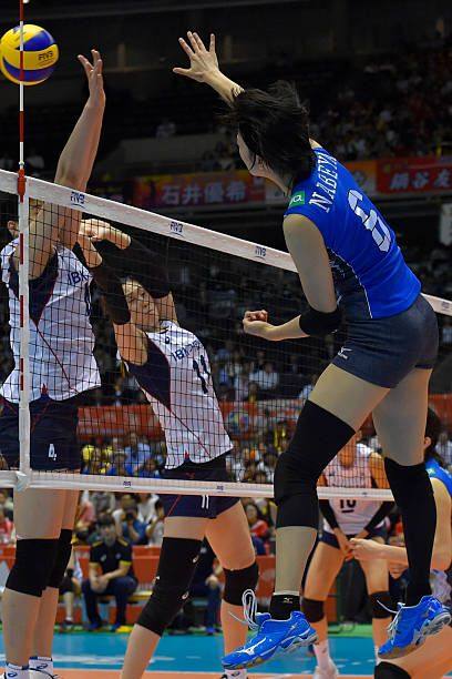 Yurie Nabeya #6 of Japan spikes during the Women's World Olympic Qualification game between South Korea and Japan at Tokyo Metropolitan Gymnasium on May 17, 2016 in Tokyo, Japan.