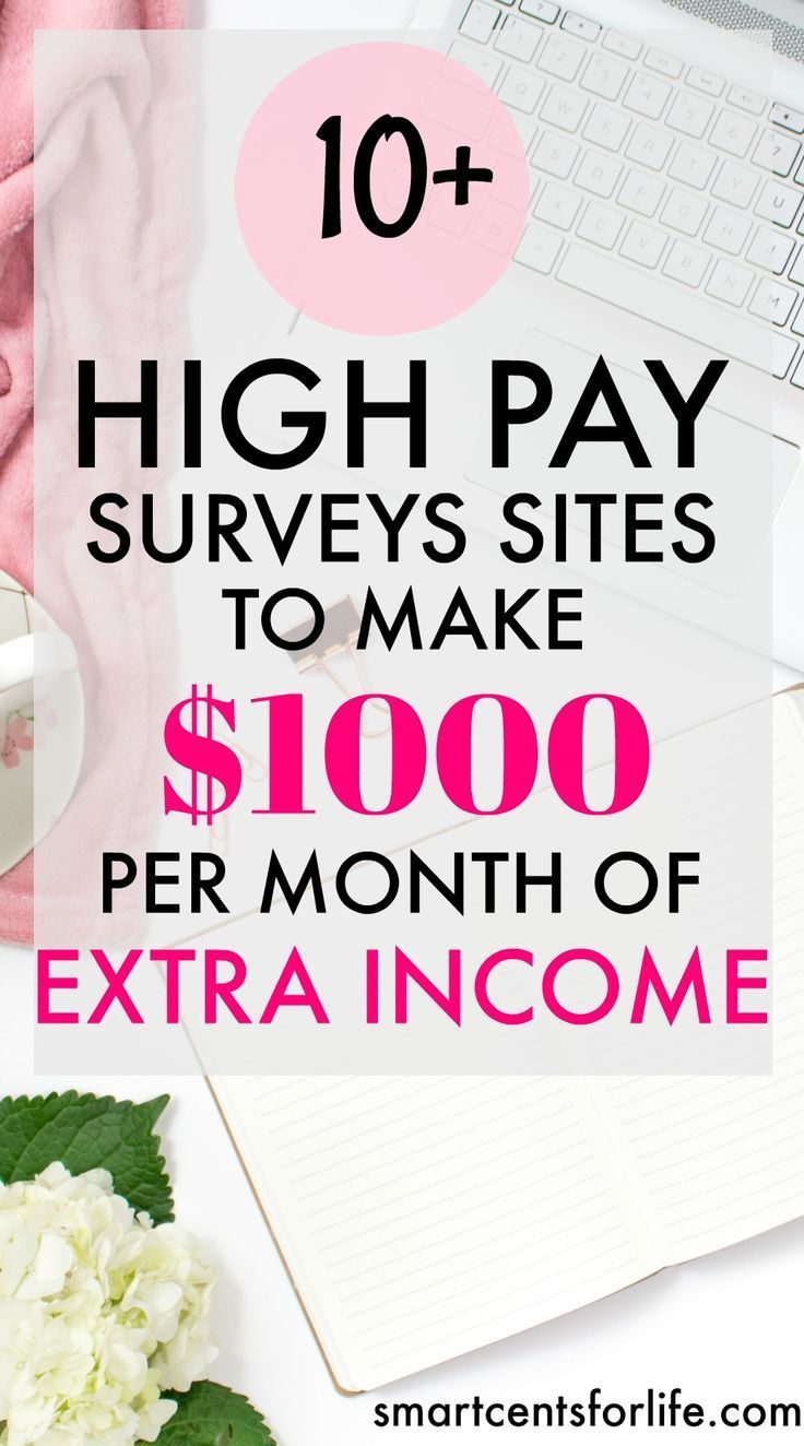 Over 10 high pay survey sites for  to to make $1000 per month of extra income. Ideal for moms, college students or anyone who wants to earn a side income! extra income | earn money | stay at home jobs | stay at home mom jobs |survey for money | make money
