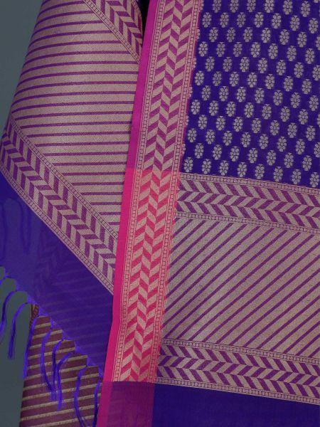 Banarasi Handwoven Blue Silk Zari Dupatta