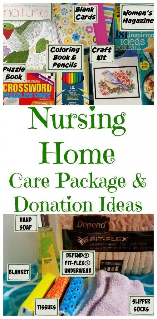 Care package to give someone in a nursing home. Great gift to bring with while volunteering or visiting a grandparent