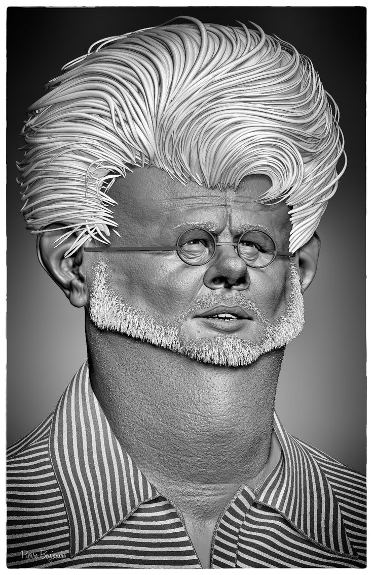 ArtStation - George Lucas 3D sculpt based upon a 2D caricature by Jason Seiler, Pierre Benjamin