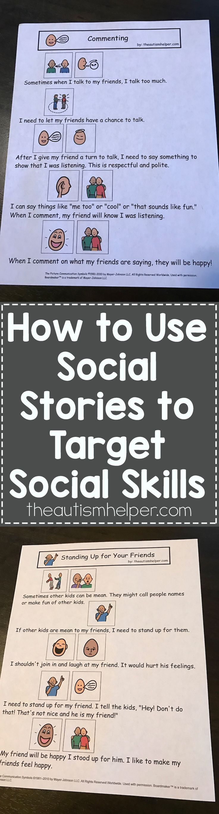 Social Stories are a fantastic tool to help your students work on social skills - Find direct resources & tips on our blog! From theautismhelper.com #theautismhelper