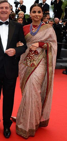 Vidya Balan in Sabyasachi, jewellery by Pankaj Surana Cannes, 2013