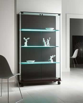 'Medora' Glass and wood showcase, available in cherry wood, mat black lacquer, wengè or bleached oak. Frosted glass.