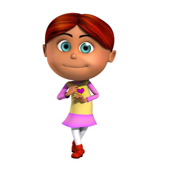B C Cartoon Characters : Isabella readhead kid d cartoon character being cute