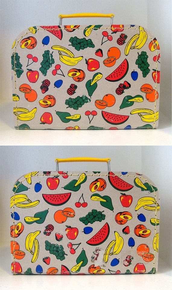 SALE Vintage 50s Novelty Kitsch Fruit Print by LaConchaVintage