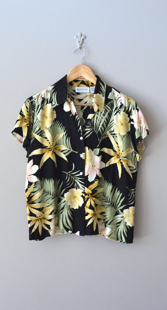vintage hawaiian shirt / hawaiian floral blouse / Poipu blouse