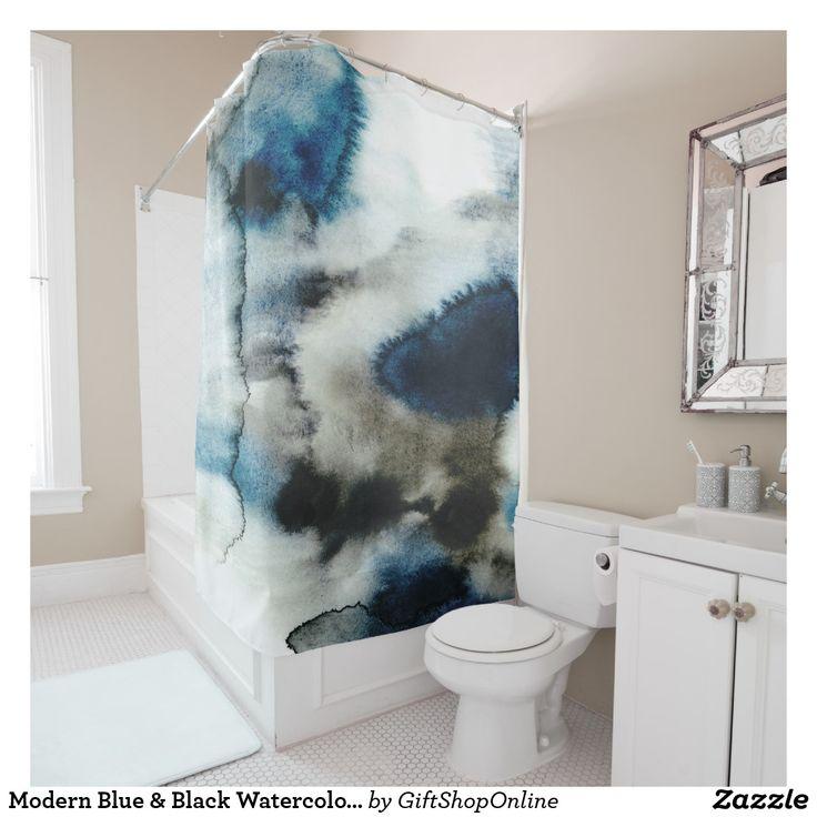 Modern Blue & Black Watercolor Wash Shower Curtain